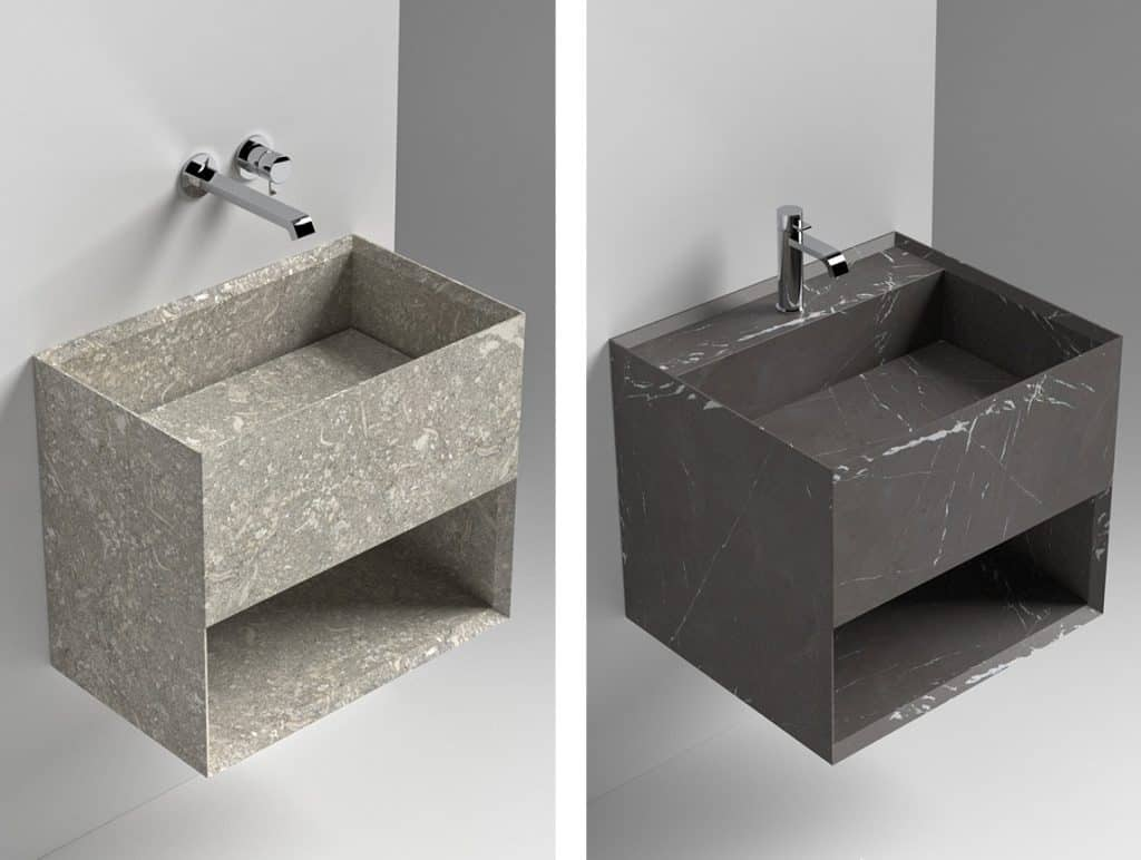Sign Waschbecken Rettangolo aus Astone® oder Naturstein
